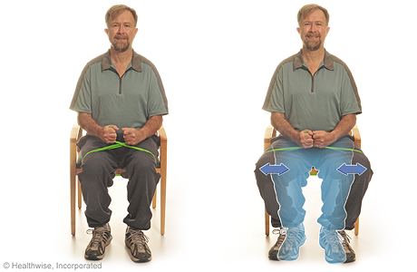 Seated exercise: Knee presses with elastic bands