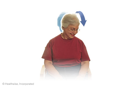 Diagonal chin-to-chest stretch