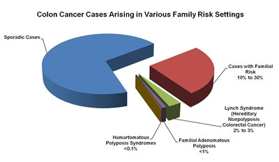 Pie chart showing the fractions of colon cancer cases that arise in various family risk settings. The majority of colon cancer cases diagnosed in these settings are sporadic. The remaining cancer cases are: cases with familial risk (10%–30%); Lynch syndrome (hereditary nonpolyposis colorectal cancer) (2%–3%); familial adenomatous polyposis (<1%); and hamartomatous polyposis syndrome (<0.1%).